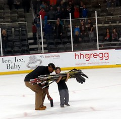 This boy has to be the hardest working kid in sports! (kennethkonica) Tags: people usa black color ice sports hockey america canon movement midwest flickr random indianapolis helmet culture indy indiana indoor uniforms puck persons echl global canonpowershot icerank prosports westernconference indianafairgrounds indyfuel chicagoblackhearts scotthilliman