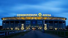 Commerzbank Arena (hanz11hanz) Tags: longexposure light cloud building modern germany deutschland football big cloudy dusk stadium frankfurt soccer arena bluehour commerzbank