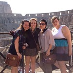 Students posing together while studying abroad.