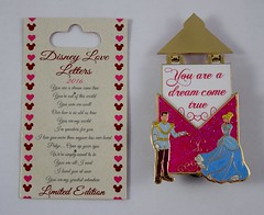 Disneyland Purchases - 2016-02-14 - Disney Love Letters POTM - January - Cinderella and Prince Charming - Pin and Card - Pin Opened (drj1828) Tags: california us pin disneyland january cinderella anaheim limited edition purchase 2016 potm le3000 disneyloveletters