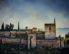 Moody Alhambra (Colormaniac too) Tags: travel castle heritage texture architecture landscape site spain moody cityscape palace unesco collection textures alhambra granada nik andalusia filters fortress distressed flypaper