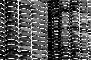 Marina City in black and white