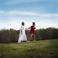 Week 9 (Stephanie R Jeter) Tags: red woman man beautiful romance story mad storybook madhatter aliceinwonderland hatter fineartphotography redjacket whitedress outdoorphotography conceptualphotography naturallightphotography 52weekchallange disneytribute