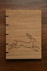 DSC_4302 (scattering_poems) Tags: wood nature animal paper notebook book sketch hare walnut running binding coptic woodburning pyrography