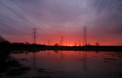 Mile road (plot19) Tags: road uk sunset red england reflection sunrise landscape manchester photography northwest britain sony north northern pylons trafford mile urmston flixton rx100 plot19
