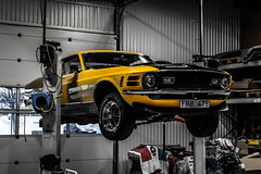 Dogwood52 challange: week 12 - transportation (joacim_771) Tags: black ford car yellow season waiting muscle garage patient transportation mustang fordmustang musclecar preparations mach1 falkenberg classicmusclecars dogwood52 dogwoodweek12