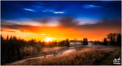 Sunset in the Park (Moe Ali Photography) Tags: road park trees light sunset sky panorama sun home field clouds sunrise landscape outdoor surreal flare dreamy canon35mmf2 canon5dii moeali moealiphotography