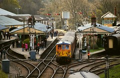 Horsted Keynes overview, with GBRf 73964 top n tailing 73107, on a train from East Grinstead. Bluebell Railway Spring Diesel Gala. 16 04 2016 (pnb511) Tags: people station train track diesel platform railway loco passengers signals points locomotive switches gala bluebell semaphore signalbox trackwork class73 gbrf