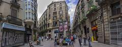 DC3290  DSC06441NX5Na  Plaça de la Cucurulla  © 2016 Paul Light (Paul Light) Tags: barcelona city people urban panorama españa men buildings children spain women candid panoramic plaçadelacucurulla