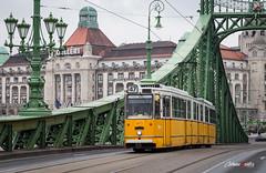 Tranva en Budapest (adrivallekas) Tags: trip travel viaje bridge canon puente hungary budapest tram danube hungria gellert viajar tranvia danubio szabadsghd canoneos6d puentedelalibertad