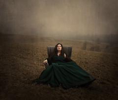 Within My Imagination (Maren Klemp) Tags: sky woman mist painterly color texture nature field grass fog vintage outdoors chair dress surreal ethereal nostalgic imagination dreamy daydream symbolic fineartphotography darkart evocative fineartphotographer darkartphotography
