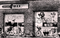 Community Bikes (creepingvinesimages - struggling to keep up!) Tags: street bw signs monochrome advertising outdoors nikon wallart hmm topaz autofocus photomatix bicycled d7000 pse14
