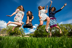 I have the best friends! (Flickr_Rick) Tags: trees woman girl grass sarah outside casey spring jump jumping erin awesome group bluesky skirt cami leap jumpology