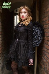 IMG_9416 (Neil Keogh Photography) Tags: red brown black female angel wings dress top gothic goth victorian tights choker whitbygothweekend april2016