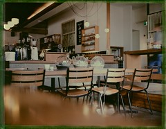 Usual Table, Last Coffee (mortiemctavern) Tags: coffee polaroid negative instant day7 bleached packfilm peelapart polaroidweek fp100c roidweek2016
