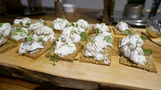 Lentil cracker, lentil gorgonzola, rosemary, goat cheese mousse