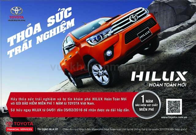 Tặng bảo hiểm thân xe 1 năm - TOYOTA HILUX (04/01 - 05/02/2016)