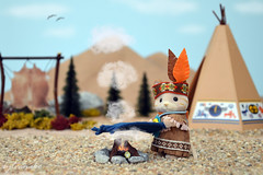 Sylvanian Families - Native American girl (Sylvanako) Tags: cloud game mountains cute nature leather cat toy fire miniature message native indian smoke families feather american blanket calico diorama playmobil sylvanian  toyphotography criters