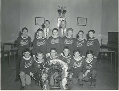 Dickie Moore with Park Ex hockey team in 1956 (SHPEHS) Tags: royalcanadianlegion parkextension parcextension dickiemoore flanders63 parkextensionamateurathleticassociation peaaa