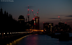 Looking west from Westminster Bridge (Dan Elms Photography) Tags: city london thames canon lights cranes canondslr riverthames londoncity cityoflondon canon70d danelms talldan76 danelmsphotography