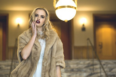 Abby (Stacey Shay) Tags: woman classic girl fashion vintage fur model lace interior retro mink blonde editorial ritz marble elegant classy fashionmodel staceythompsonphotography