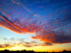 Sunset over the town (_muscaria_) Tags: blue autumn sunset red sky yellow skyline clouds evening colorful purple space calming