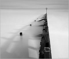 Groyne Shadows (Andrew Paul Watson) Tags: wood longexposure shadow white black mono shadows 14mmf28 aberdeen filter lee british groyne hitech scotlan firecrest xt1 16stop