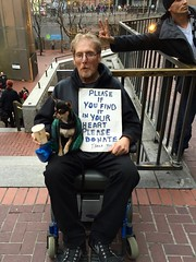 rabbit ears (vhines200) Tags: sanfrancisco dog sign wheelchair homeless rabbitears 88 panhandler 2016