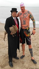 Dr. Takeshi Yamada and Seara (Coney Island Sea Rabbit) at the winter swimming event by the Coney Island Polar Bear Club at the Coney Island Beach in Brooklyn, New York on January 17 (Sun), 2015.  merman.  20160117Sun DSCN3469=2020pC1 (searabbits23) Tags: winter ny newyork sexy celebrity art beach fashion animal brooklyn asian coneyisland japanese star yahoo costume tv google king artist dragon god cosplay manhattan wildlife famous gothic goth performance pop taxidermy cnn tuxedo bikini tophat unitednations playboy entertainer samurai genius donaldtrump mermaid amc mardigras salvadordali billclinton hillaryclinton billgates aol vangogh curiosities bing sideshow jeffkoons globalwarming takashimurakami pablopicasso steampunk damienhirst cryptozoology freakshow barackobama polarbearclub seara immortalized takeshiyamada museumofworldwonders roguetaxidermy searabbit ladygaga climategate