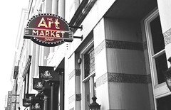 The Art Market (Amandaclicks) Tags: red urban blackandwhite art sign architecture vintage knoxville market antique tennessee artdeco gaystreet