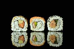 sushi (brescia, italy) (bloodybee) Tags: stilllife food fish black reflection japan sushi cuisine mirror avocado asia rice maki salmon eat sake tuna nori uramaki 365project
