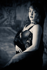 Stephanie S Second Solo 5-18 (Jonathan Frings) Tags: leather model redhead topless cape backdrop