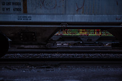 Under The Train (Evan's Life Through The Lens) Tags: life camera blue urban cold college glass station night train canon dark lens day afternoon cloudy sony exploring tracks adventure explore carts f28 urbex 2470mm a7s