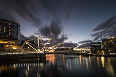 Sunset Behind the Seafarers (Leanne Cole) Tags: longexposure bridge sunset photographer photos australia melbourne images victoria environment fineartphotography pedestrianbridge yarrariver cityofmelbourne longexposurephotography environmentalphotography fineartphotographer seafarersbridge environmentalphotographer leannecole leannecolephotography