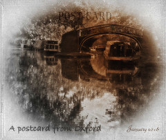 A Postcard from Oxford ~ January 2016 (virtually_supine popping in and out) Tags: bridge water sepia photomanipulation reflections artistic postcard text creative textures oxford layers vignette oxfordcanal ortoneffect isislock picasa3 focalblackandwhiteeffect digtalartwork photoshopelements9 artbwbtrachallengeblackandwhiteopenthemejanuary2016