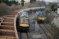 3 trains at oakham 0z91 toton tmd to norwich 68004 90006 at oakham 170112 and a stone train (I.Wright Photography over 2 million views thanks) Tags: trains db crosscountry rutland xc bahn oakham lafarge schenker class66 class90 class170 170112 class68 6m67 0z91