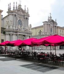 piazza san carlo (Mr Ian Lamb) Tags: street red italy torino cafe italian turin piazzasancarlo