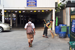 School's in (Roving I) Tags: thailand education bangkok backpacks schools sweeping arriving schoolboys caretakers strawbrooms