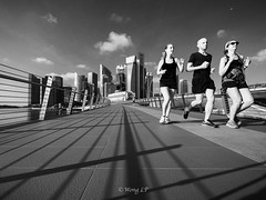 Jogging buddies (wonglp) Tags: singapore olympus jubileebridge penf m43 ultrawideangle mirrorless microfourthirds