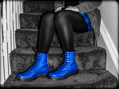 Dr Martens patent blue. (CWhatPhotos) Tags: pictures above camera blue woman man color colour male colors leather yellow female that photography boot cool stair sitting colours foto looking hole image boots artistic pics dr picture 8 down pic olympus images have photographs together photograph footwear fotos stitching doc tough marten which dm docs contain select partial selective airwair martens patent dms 1460 tg4 cwhatphotos