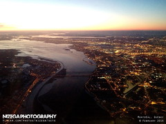 Aerial view of St-Lawrence river, Lasalle and Kanawakee indian reserve (nizega) Tags: sunset canada night island dawn lights downtown view quebec montreal aerial lasalle mercier est ndg verdun hochelaga villeray