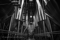 SABrewery-22 (cynaZZam photOGraphy) Tags: cold beer monochrome canon grey blackwhite texas steel arnold tubes beverage houston brewery production geometrical brew cynlinders cynazzam