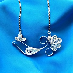 Quilled Paper Bluebird of Happiness Necklace (all things paper) Tags: paperart papercraft quilling papersculpture paperjewellery paperjewelry papernecklace quilledbird quillednecklace quilledbluebirdofhappiness defileyourtaxes