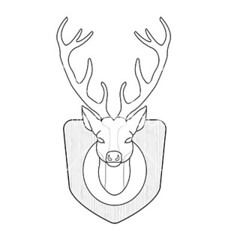 hunting logo - contour (in5pir4ti0ns) Tags: wood wild white black male art nature beautiful animal silhouette wall illustration vintage emblem logo reindeer mammal design sketch stuffed stag graphic natural symbol head drawing decorative wildlife horns icon line taxidermy deer antlers beast trophy shield elegant dummy decor vector isolated element hunt muzzle horned