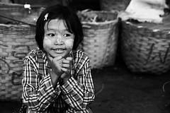 (cherco) Tags: portrait blackandwhite blancoynegro girl smile look canon happy hands market retrato mercado 5d myanmar lovely