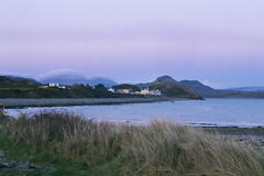 Marshmallow mountains (lord wardlaw) Tags: sunset sea cloud mountain castle beach grass wales landscape dusk sony dune north formation snowdonia criccieth moelhebog