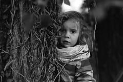 Mystery Tree (mravcolev) Tags: blackandwhite bw tree film nature girl mystery mono child portait naturallight mysterious kodaktrix analogue gaze ilford nikonfe2 id11 myste homedevelopment epsonperfectionv700 analoq