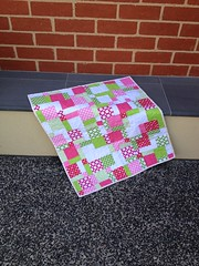 Baby quilt (Antique Rose Designs) Tags: pink baby white green quilt sewing quilting patchwork binding crafting