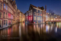 Dutch Venice (l3v1k) Tags: old city houses light red urban reflection water netherlands amsterdam night river outdoors photography town canal exposure cityscape time nobody scene behind lenscap michiel dwelling 500px ifttt buijse