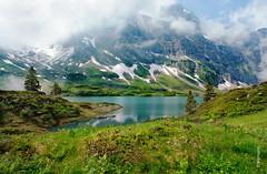Trbsee (welenna) Tags: blue schnee summer sky mist mountain lake snow mountains alps water landscape switzerland see wasser view swiss blumen berge alpen blume wasserspiegel trbsee schwitzerland titlisundtrbsee